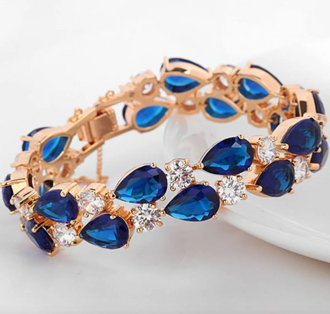Vibrant Crystal Blue Bracelet Bangle