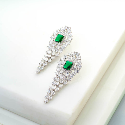 Victoria Swarovski Crystal and Emerald Green Earrings