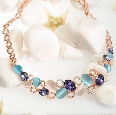blue stone multicolored necklace set