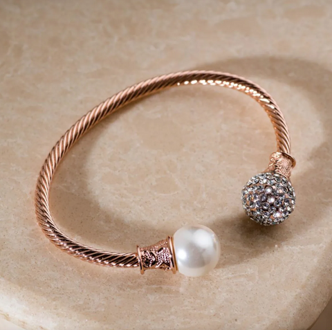 Fiona Twist Rose Gold and Pearl Bangle Bracelet