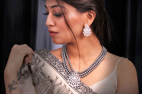 Saree with jewellery