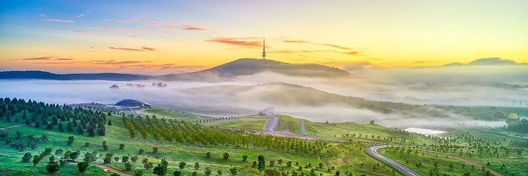 Morning fog - Dawn at the Arboretum, Canberra, Australia
