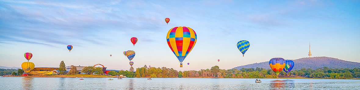 Floating - Balloons over Canberra during Enlighten Festival Balloon Spectacular