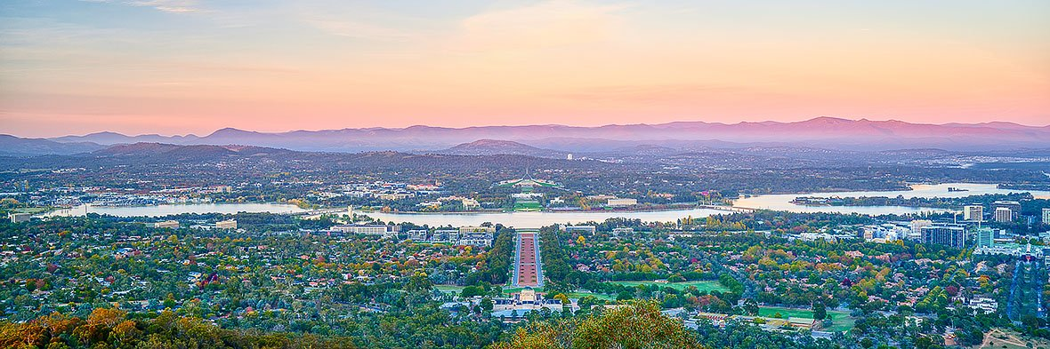 Marion's View - Sunrise over Canberra from Mount Ainslie lookout