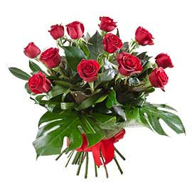 12 Long Stemmed Premium Colombian Red Roses Bouquet