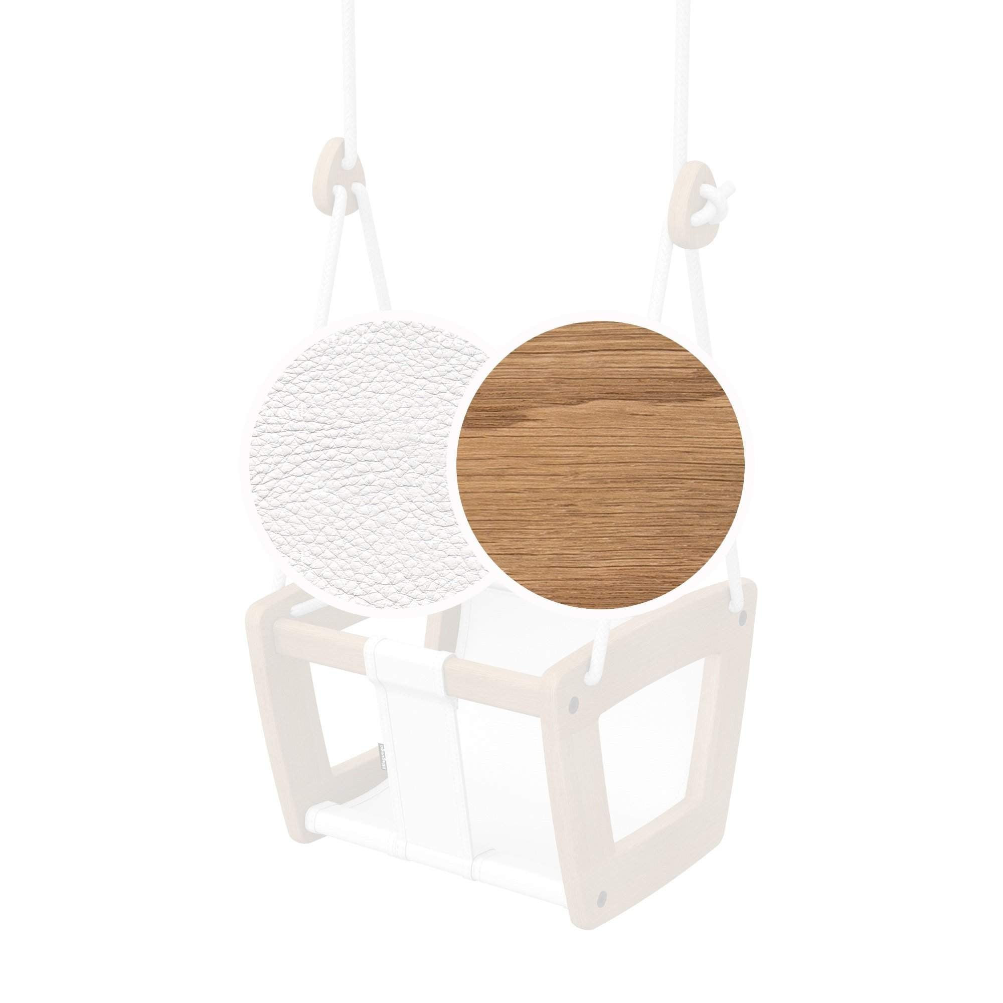 Toddler - Oak - White Leather - Lillagunga