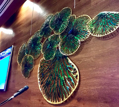 Green Leaves in Dubai Restaurant - 5mm Design Wall Art Feature