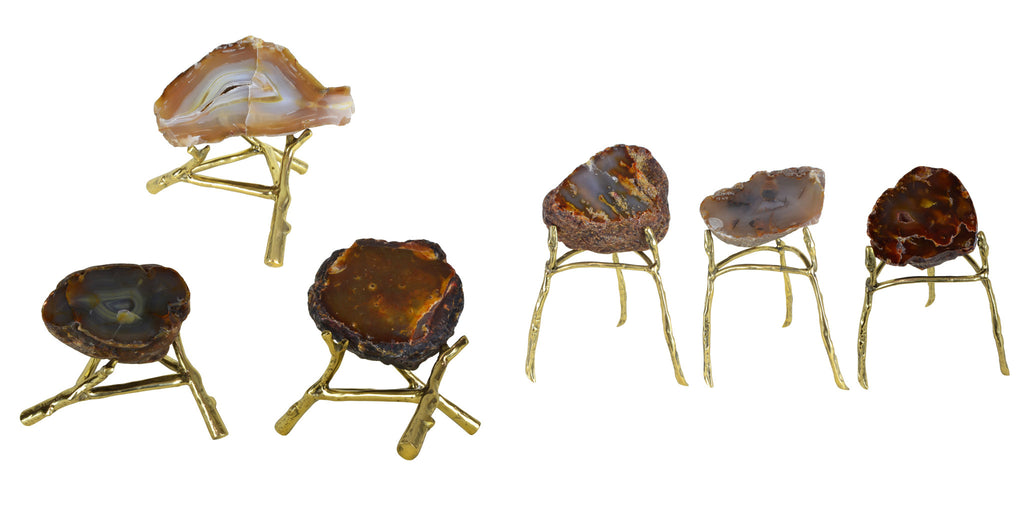Agate Slices on Brass Stands - Luxury Home Accessories & Decor - 5mm Design Store London