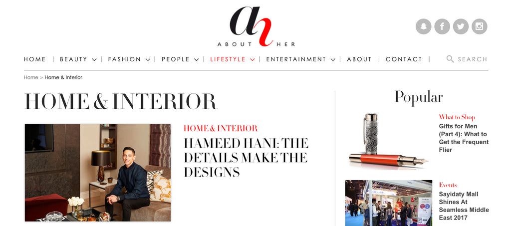 About Her: Home & Interior - Hameed Hani Designer Press Feature - 5mm Design Store London