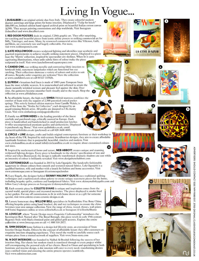 As Seen In Vogue: Living In Vogue - Press Feature - 5mm Design Store London