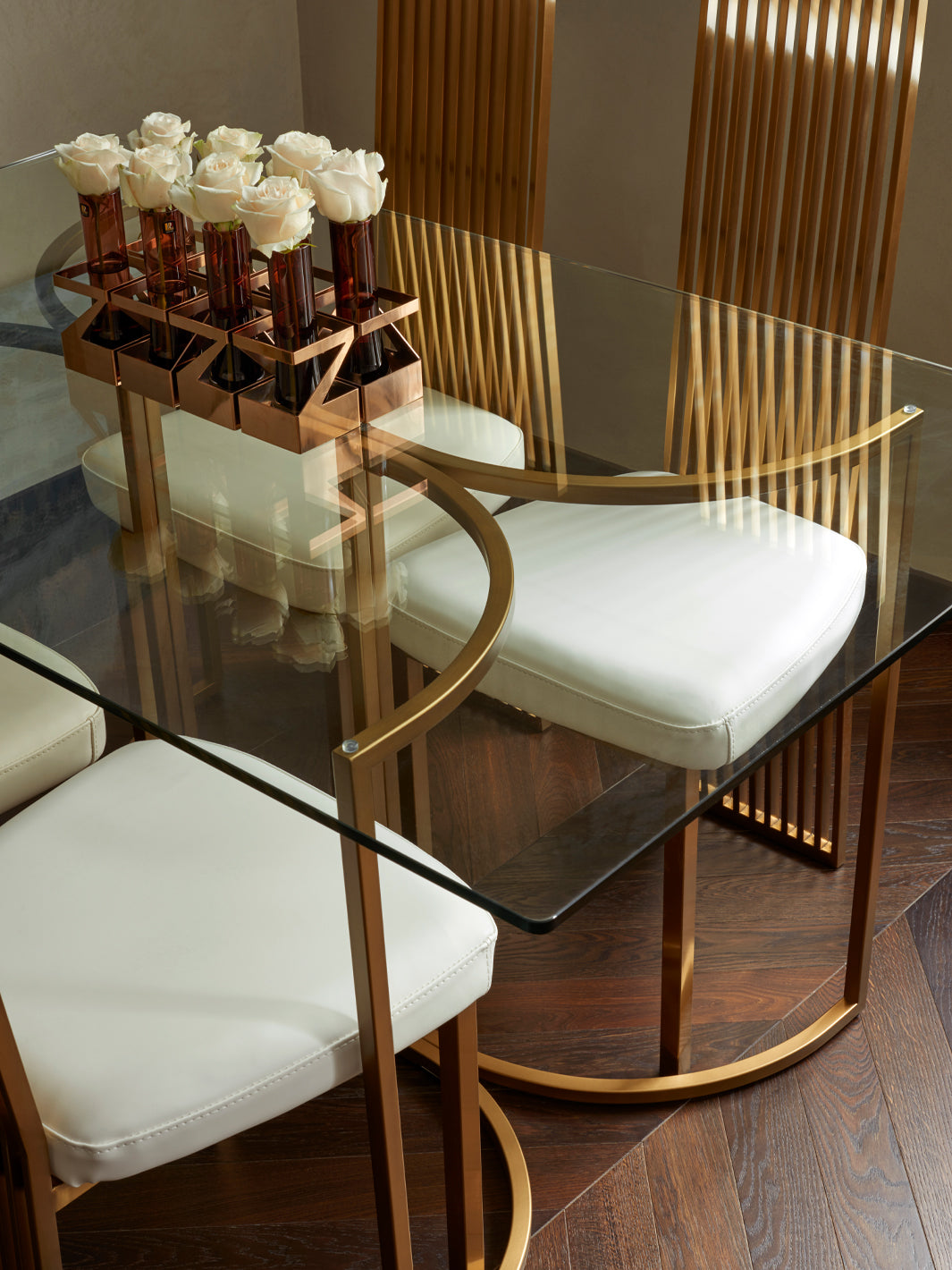 Residential Interior Design | Dining Room Dècor | Brass Dining Table & Brass Dining Chairs | Covent Garden Apartment | 5mm Design London