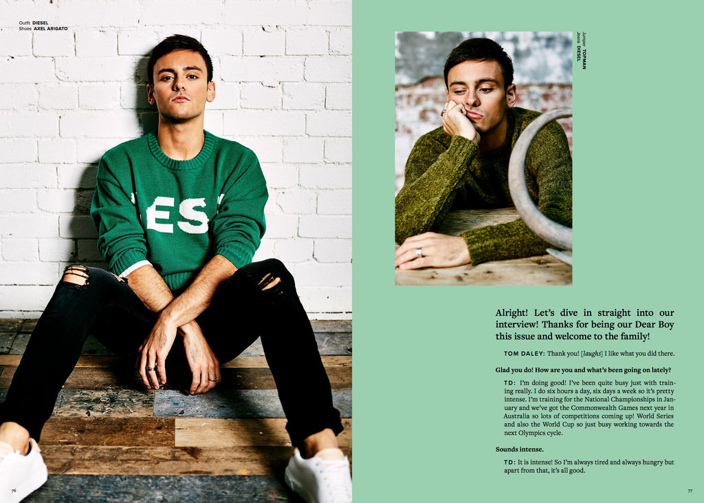 Dear Boy Magazine - Tom Daley Photoshoot - 5mm Design Dinosaur Sculptures Press Coverage