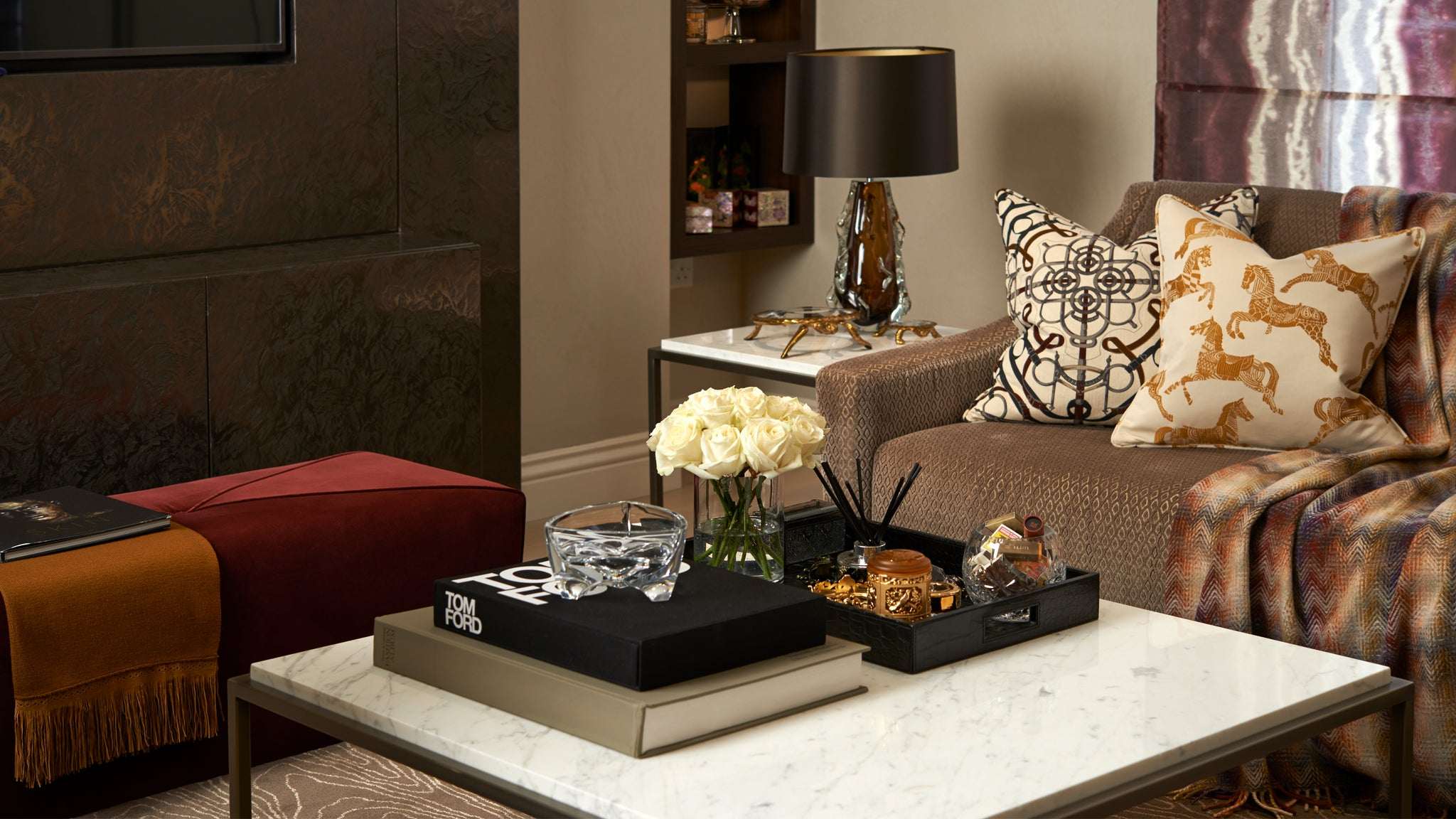 Residential Interior Design | Living Room Design | Ottoman and Sofa Detail | Marble Arch Apartment | 5mm Design London