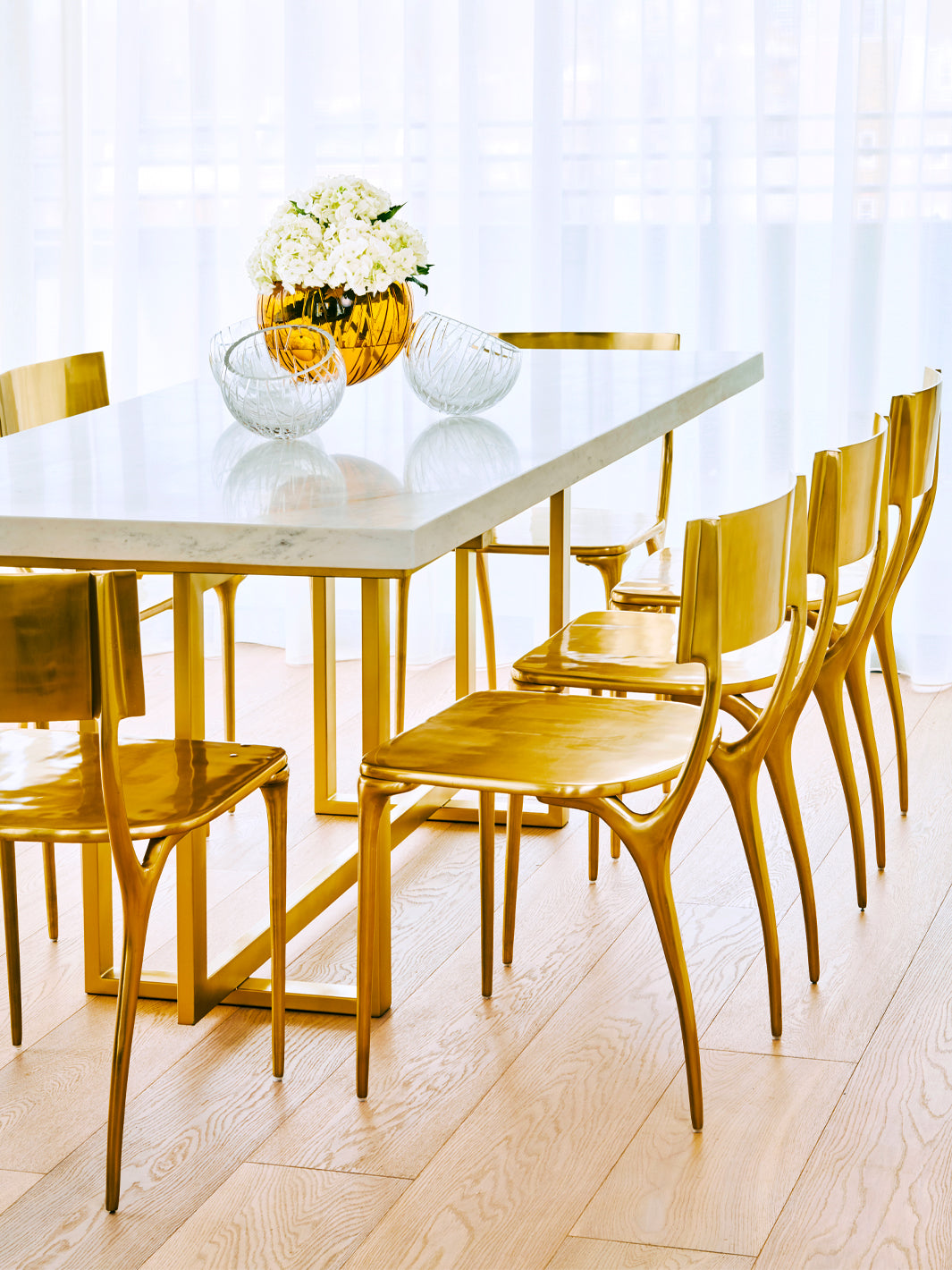 Residential Interior Design | Dining Room Design | Brass Dining Chairs & Brass Dining Table | Luxury Interiors | 5mm Design London