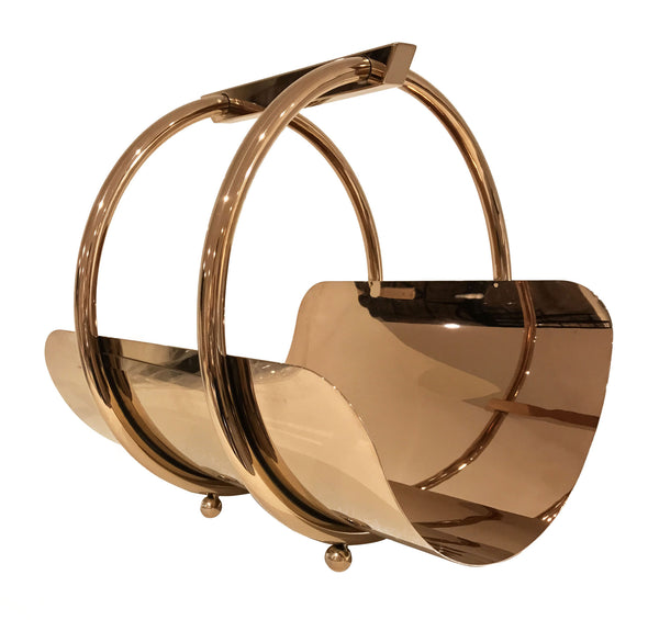 Ring Magazine Rest - Copper -Contemporary Magazine holder. Compact size magazine rest. Copper colour. Polished metal finish. Materials: Copper plated steel. Dimensions: W32 D36 H36cm. Magazine rest functions as a decorative object.  Keep your favourite magazines and books organised in this modern design magazine holder. Small-medium size magazine rest for styling Living rooms, drawing rooms, kitchens and bedrooms.