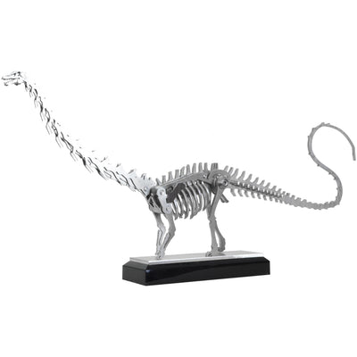 Mini Apatosaurus - View 1 - Decorative Object / Sculpture. Silver Colour. Dinosaur Sculpture. Apatosaurus dinosaur skeleton ornament. Industrial chic style dinosaur object. Materials: Brushed Stainless steel. Acrylic base. Jurassic Park theme home accesso