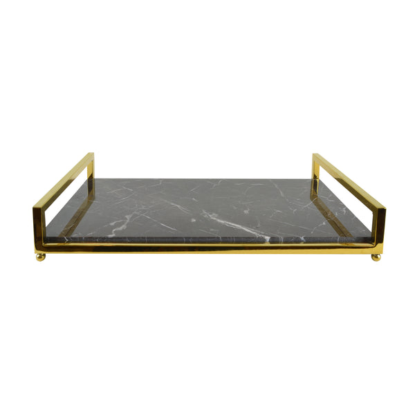 Deco Tray - View 1 - Serveware. Brass and Saint Laurent Marble Tray. Gold and Grey Marble colours. Home entertaining barware. Art deco style home decor. Dimensions W45 D25 H7.5cm. Dinner party and home entertainment accessories. Medium - large size tray that can be used for styling coffee tables, console tables and sideboards. The modern design can add a touch of luxury to living rooms and dining rooms. Designer gift option for any occasion. Marble Tray.