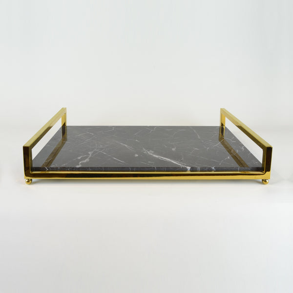 Deco Tray - View 2 - Serveware. Brass and Saint Laurent Marble Tray. Gold and Grey Marble colours. Home entertaining barware. Art deco style home decor. Dimensions W45 D25 H7.5cm. Dinner party and home entertainment accessories. Medium - large size tray that can be used for styling coffee tables, console tables and sideboards. The modern design can add a touch of luxury to living rooms and dining rooms. Designer gift option for any occasion. Marble Tray.