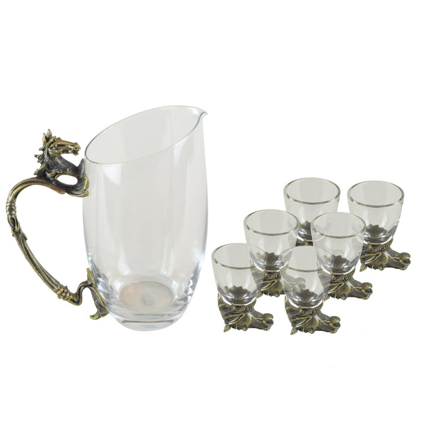 Horse Shot Glasses - Set - Glassware set. Set includes 1x Jug and 6x Shot Glasses. Bronze colour. Bronze Horse Head and handle detail. Horse theme home accessories. Materials: High Grade Glass, Cast Bronze Handmade.  Shot Glass dimensions: Ø4 H7cm. Jug Carafe dimensions: W11 D7.5 H15cm. Dinner Party and home entertainment accessories. A designer gift to add to luxury homes. Royal Ascot theme home decor. Jug and shot glasses suitable for coffee and ginger shots.