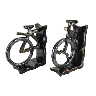 Bicycle Bookends II - Pair View 1 - A pair of bookends. Black and grey colours. Bicycle shape divided into 2 sections. Materials: Painted resin. Dimensions: W14 D6.5 H20cm (Each). Cycling home accessories. A designer gift for cyclists and spin class fitne