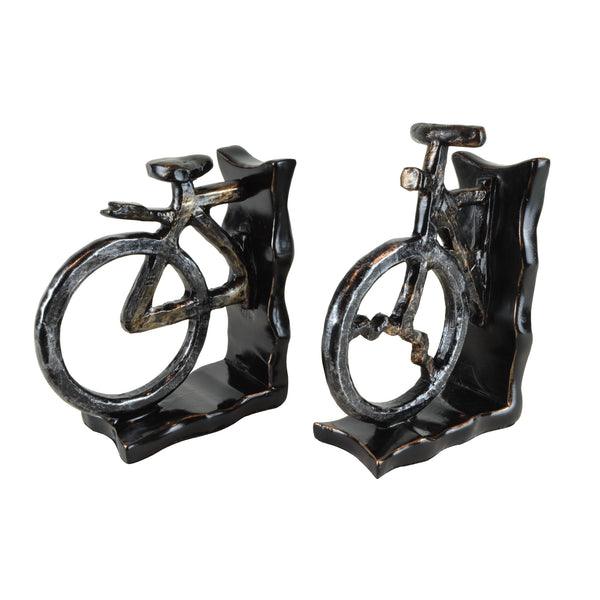 Bicycle Bookends II - Pair View 1 - A pair of bookends. Black and grey colours. Bicycle shape divided into 2 sections. Materials: Painted resin. Dimensions: W14 D6.5 H20cm (Each). Cycling home accessories. A designer gift for cyclists and spin class fitness fanatics. Felt padding on the base to protect surfaces. designer bookends for styling shelves and display units.