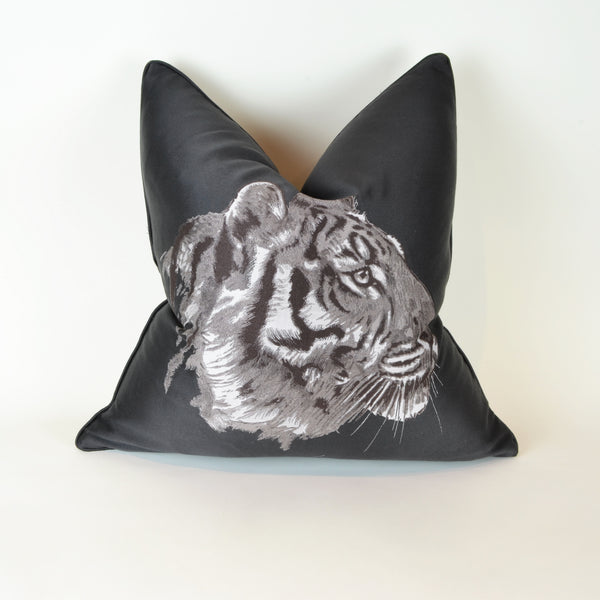 Majestic Tiger Cushions - Porfile - Scatter Cushion. Grey colour. 2 different fabrics on front and back. Front side is Designer Hermès fabric featuring striking tiger illustration appliquè. Back side is luxurious soft Grey cashmere feel wool fabric. Dimensions: 55 x 55cm. Insert pad included.  Padding: Goose feather and down. Hermès Fabric composition: 50%CO 50%SE Greyfabric composition: 100% Wool. Scatter cushion to style sofas, armchairs and beds.