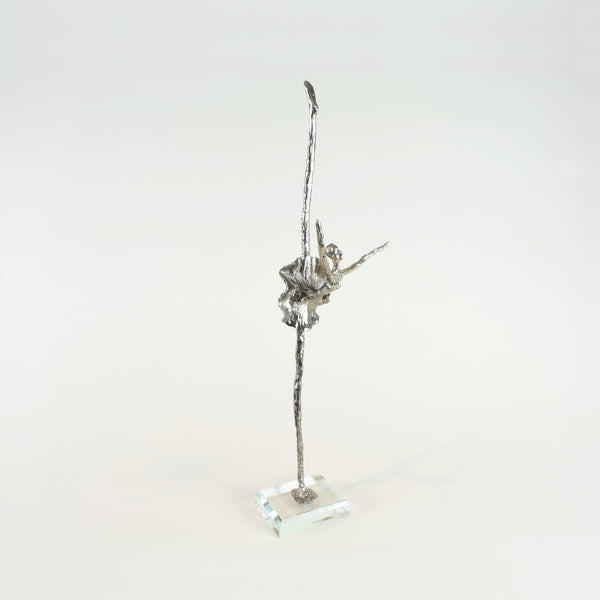 Black Swan Ballerina Sculpture - View 3 - Decorative Object / Sculpture. Silver / Pewter Colour. Abstract Figurine Sculpture. Materials: Nickel, Clear Acrylic. Dimensions: W13 D6.5 H42cm. Ballet & Dance theme home accessories. Feminine home decoration. Small - Medium size Sculpture / Ornament for styling shelves, niches and display units.
