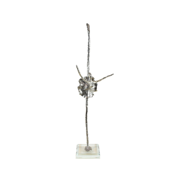 Black Swan Ballerina Sculpture - View 1 - Decorative Object / Sculpture. Silver / Pewter Colour. Abstract Figurine Sculpture. Materials: Nickel, Clear Acrylic. Dimensions: W13 D6.5 H42cm. Ballet & Dance theme home accessories. Feminine home decoration. Small - Medium size Sculpture / Ornament for styling shelves, niches and display units.