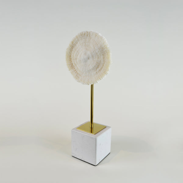 Coral Burst - Short view 2 - Decorative Object / Sculpture. Ivory Colour. Faux Coral home decor. Marble base. Materials: Sandstone, Carrara Marble, Nickel Plated Steel. Available in two sizes: Short, Tall. Short dimensions: W13 D8 H33cm. Tall dimensions: W13 D8 H40cm. bathroom home accessories. nature theme home decor. Designer gift. Each coral ornament is unique and may differ in shape and size from the displayed image. Small – Medium size Sculpture / Ornament for styling shelves, niches and display units.