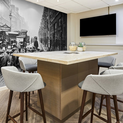 Office Island - Office Workspace Solution - View 1 - Shared workspace solution. Bespoke kitchen island style office workspace. Design, Manufacture and Installation service. Office fitted joinery. Commercial office storage solution. Bespoke island with int