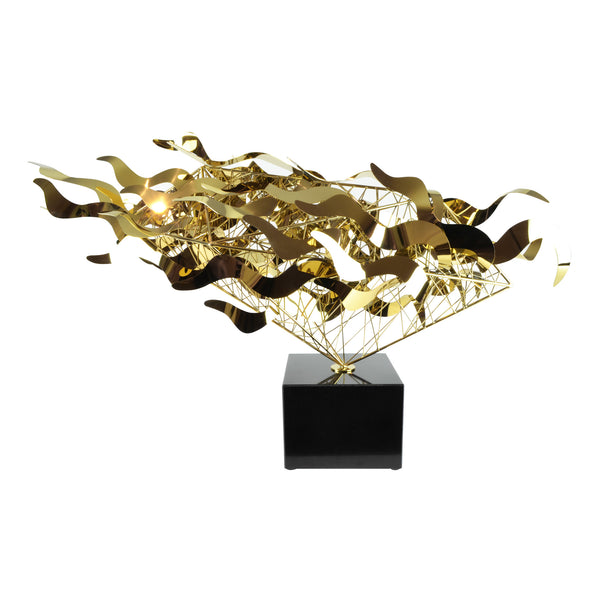 Bullet Sculpture - Gold View 1 - Metal Sculpture. Abstract style large decorative object. Complex handmade sculpture. Mirror polished metal. Black marble base. Metal available in two colours: Gold and Silver.  Materials: Plated steel, marble. Dimensions: W98 D25 H58cm. Centrepiece home decor. A luxurious sculpture to be the focal point in any interior. Ideal gift for valentine's day. Large - XL size Sculpture / Ornament for styling sideboards, console tables and display units.