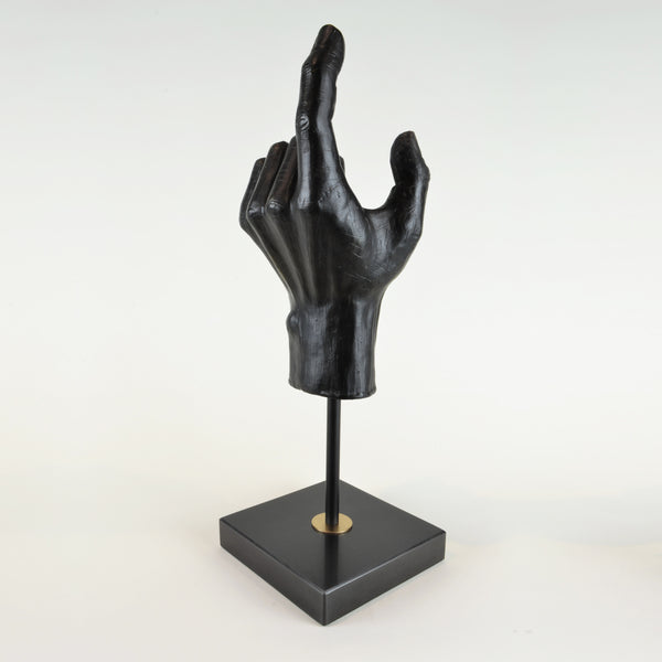 Hand Sculpture - View 2 - Decorative Object / Sculpture. Black Colour. Hand shape Sculpture. Hand made from black zinc. Black marble base. Materials: Zinc, Marble. Dimensions: W14 D14 H42cm. Masculine home accessories. Home office and library decoration. Ideal designer gift for him.