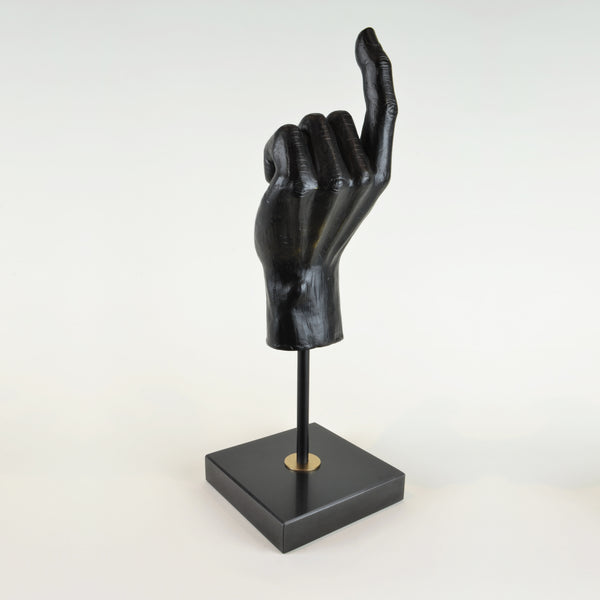 Hand Sculpture - View 4 - Decorative Object / Sculpture. Black Colour. Hand shape Sculpture. Hand made from black zinc. Black marble base. Materials: Zinc, Marble. Dimensions: W14 D14 H42cm. Masculine home accessories. Home office and library decoration. Ideal designer gift for him.