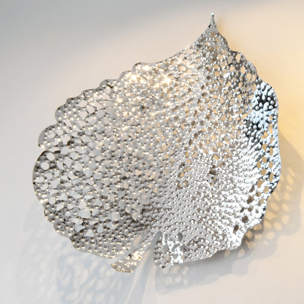 Very Silver Leaf - 3D Sculptural Wall Art & Decor - 5mm Design Store London GH74
