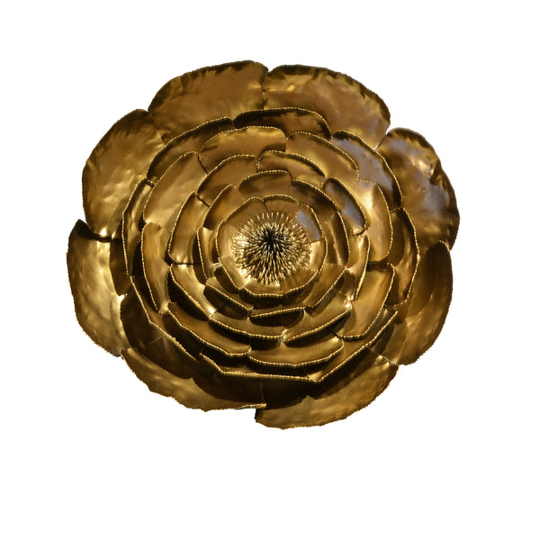 Gold Peony - View 1 - 3D Sculptural Wall Art. Peony flower shape wall sculpture. Statement Wall Decoration. Brushed Gold and black Colour. Hammered finish. Materials: Painted steel peony and steel stamens. Top interior design trend. Floral theme home accessories. Multiple Gold Peonies can be installed together to create a striking wall art installation. Large size wall art that will be the focal point in Living Rooms, Dining Rooms, Staircases and Entrance Hallways.