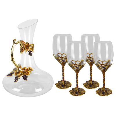 Amber Wine Set - Glassware set. Set includes 1x Carafe and 4x Wine Glasses. Gold and Amber colour. Intricate metal and natural stone vine leaves detail. Natural Amber material and Swarovski coloured crystals.  Materials: High Grade Glass, Brass, Amber, La