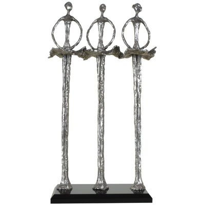 3 Ballerinas Sculpture | Decorative Object / Sculpture. Silver / Pewter Colour. Abstract Figurine Sculpture. Materials: Nickel, Smoke Acrylic. Dimensions: W15 D8 H31cm. Ballet & Dance theme home accessories. Small - Medium size Sculpture / Ornament for st