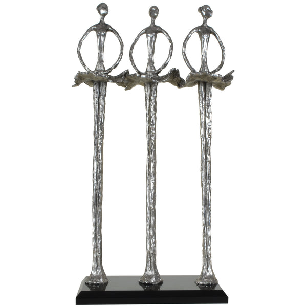 3 Ballerinas Sculpture | Decorative Object / Sculpture. Silver / Pewter Colour. Abstract Figurine Sculpture. Materials: Nickel, Smoke Acrylic. Dimensions: W15 D8 H31cm. Ballet & Dance theme home accessories. Small - Medium size Sculpture / Ornament for styling shelves and display units.