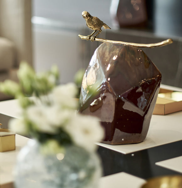 Brass Bird on Rock - Luxury Home Accessories - 5mm Design Store London