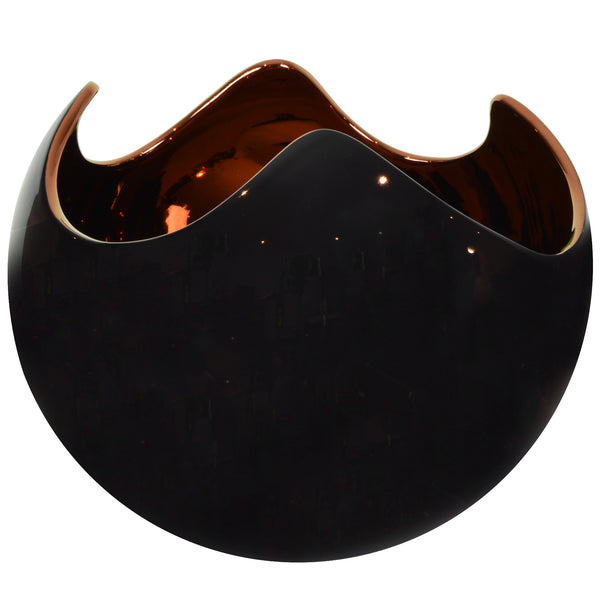 Egg Sphere - Black & Copper - Ceramic Vase / Bowl. Versatile design to be used as a vase or bowl. Modern style Decorative object. Organic shaped vase. Cracked egg-shaped bowl. Glossy polished finish. Available in 8 colour combinations. Bowl interior colour options are Copper or Gold. Bowl outside colour options are Black Marble, Grey Marble, Black, Midnight Blue, Ivory, Orange and Mustard. Materials: Ceramic. Handmade Italian ceramics. Contemporary homeware design.