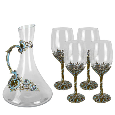 Aquamarine Wine Set - Glassware set. Set includes 1x Carafe and 4x Wine Glasses. Bronze and Aquamarine colour. Intricate metal and natural stone detail. Lacquer and Swarovski coloured crystals.  Materials: High Grade Glass, Bronze, Swarovski crystals, Lac