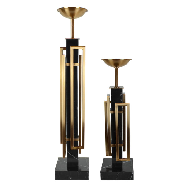 Deco Candle Holder - Set - Candle Holder. Black and Bronze colours. Art Deco style home accessories. Black nero marble candle holder. Material: Copper Plated Steel, marble. Available in 2 sizes: Small and medium. Dinner Party and Home Entertaining accessories. Create mood lighting with candlelight. Short - tall size candle holder for styling console tables and dinner tables. A perfect designer gift for any occasion. Modern design decorative objects.  Sculptural candle holder.
