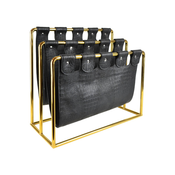 Deco Magazine Holder - Brass View 1 - Magazine caddy. Contemporary Magazine holder with an art deco twist. Faux leather magazine rest. Black and gold colour. Faux crocodile leather detail. Materials: nickel plated steel, faux leather. Dimensions: W45 D20 H39cm. Keep your favourite magazines and books organised in this modern design magazine holder. medium size magazine rest for styling Living rooms, drawing rooms, kitchens and bedrooms.