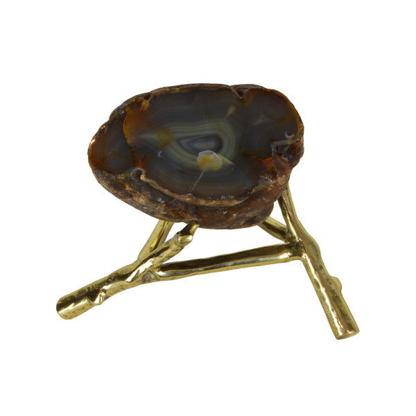 Agate Rock Slice - Olive - Rock crystal decorative object. Brass stand. Natural agate rock. Each natural agate slice is unique and differs in colour. Materials: Natural Agate, Brass. Dimensions: Approx. W21 D18 H16cm. Top interior design trend. Trendy designer gift for luxury homes. Natural stone ornament. Small size sculpture for styling coffee tables, shelves and console tables.