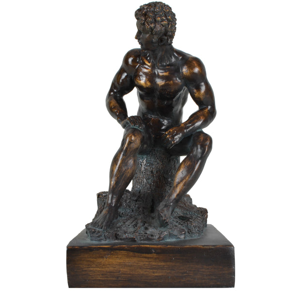 Roman Man Sculpture - View 2 -Decorative Object / Sculpture. Bronze Colour. David Figurine Sculpture. Materials: Painted resin. Old Rome theme home accessories. Michelangelo theme home decor. Dimensions: W17 D16 H30cm. Small size Sculpture / Ornament for styling shelves, console tables and display units.