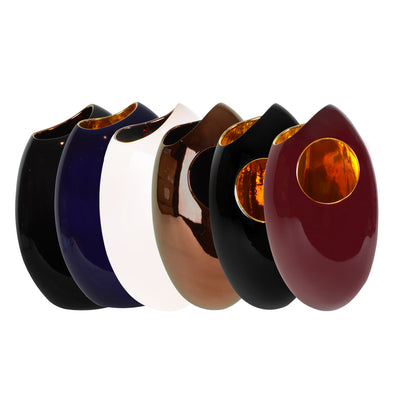 Pebble Vase - Set- Ceramic Vase. Modern style Decorative object. Organic shaped vase. Pebble shaped vase. Glossy polished finish. Available in 5 colour combinations. Vase interior colour options are Copper or Gold. Vase outside colour options are Copper,