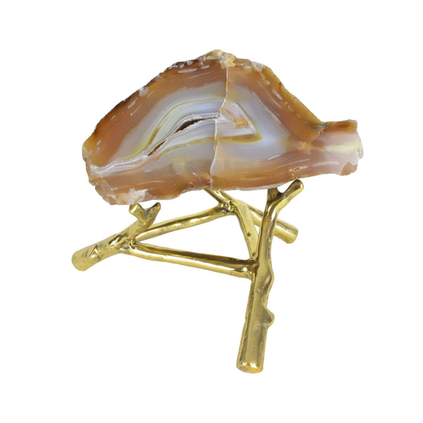 Agate Rock Slice - Taupe - Rock crystal decorative object. Brass stand. Natural agate rock. Each natural agate slice is unique and differs in colour. Materials: Natural Agate, Brass. Dimensions: Approx. W21 D18 H16cm. Top interior design trend. Trendy designer gift for luxury homes. Natural stone ornament. Small size sculpture for styling coffee tables, shelves and console tables.