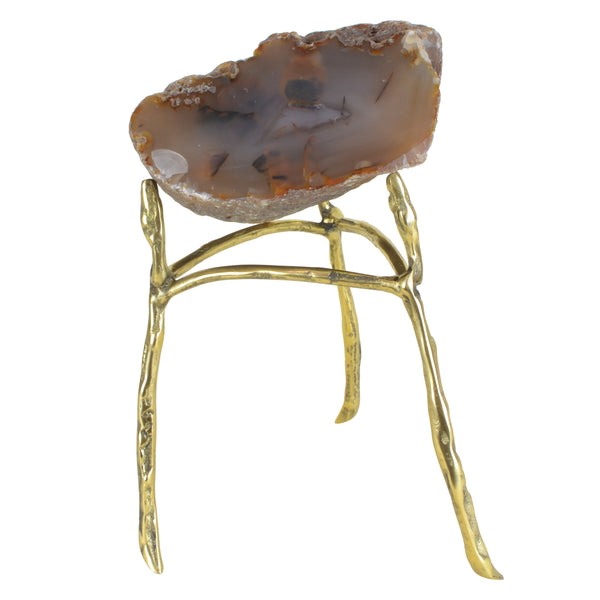 Agate Rock on Tall Nest - Taupe - Rock crystal decorative object. Brass stand. Natural agate rock. Each natural agate slice is unique and differs in colour. Materials: Natural Agate, Brass. Dimensions: Approx. W21 D18 H32cm. Top interior design trend. Trendy designer gift for luxury homes. Natural stone ornament. Small size sculpture for styling coffee tables, shelves and console tables.