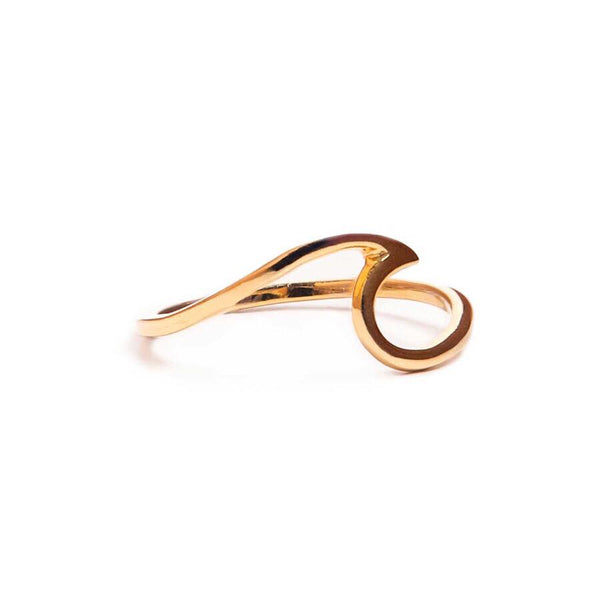 Gold sterling silver wave ring
