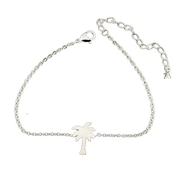 Silver stainless steel tropical palm tree bracelet